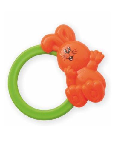 Detská hrkálka Baby Mix zajačik oranžový - Oranžová