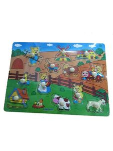 Detské drevené puzzle s úchytkami Baby Mix Farma - Podľa obrázku