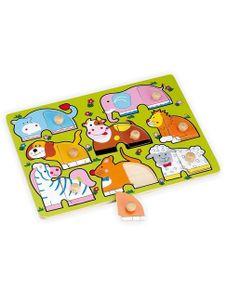 Detské drevené puzzle s úchytmi Baby Mix Zvieratká - Podľa obrázku
