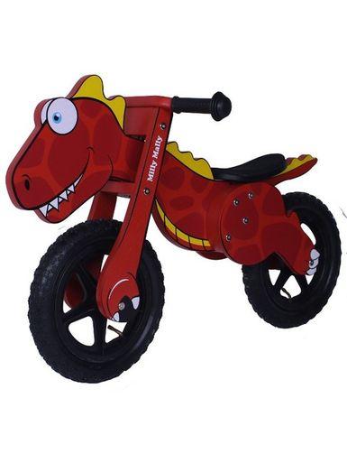 Detské odrážadlo-bicykel Milly Mally DINO red - Červená