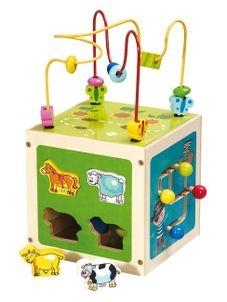 Drevená edukačná hračka Baby Mix Kostka labyrint - Zelená