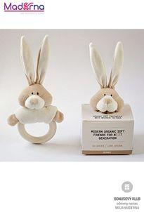 Wooly organic Bunny hrkálka s dreveným hryzátkom 100% biobavlna