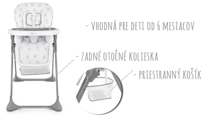 a0b33f2d6e47 Gmini Jedálenská stolička Simply Bears šedá - MADERNA.sk