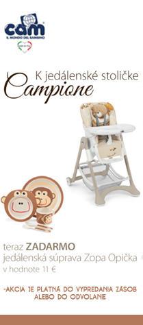 cam zľava akcoa darček ku kupe jedálenskej stoličky Campione teraz ZADARMO jedálenská súprava ZOPA opičky ZADARMO