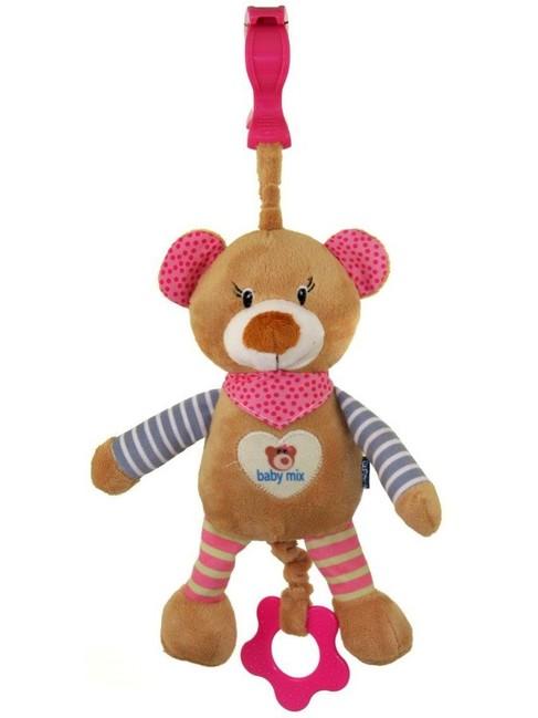 778800704a3 Detská plyšová hračka s hracím strojčekom Baby Mix medvedík ružový - Ružová