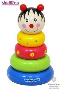 Baby Mix Drevená hračka veža 18+ lienka