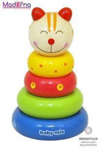 Baby Mix Drevená hračka veža 18+ mačička