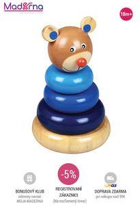 Baby Mix - drevená hračka veža 18+ medveď