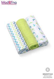 Baby ono Plienky mušelínové - Super soft 3ks - Zelené