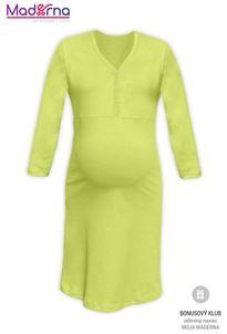 Be MaaMaa Tehotenská nočná košieľka na kojenie PAVLA 3/4 - hráškovo zelená