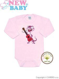 BIO body s dlhým rukávom New Baby Jašterička ružové - Ružová