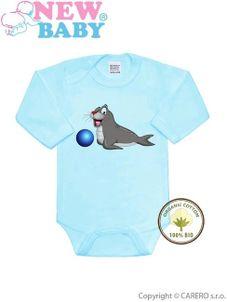 BIO body s dlhým rukávom New Baby Uškatec modré - Modrá