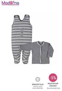 Bobas Fashion - 2-dielna bavlnená dojčenská súpravička Strieborná Mačka s pruhmi sivá