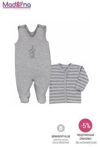 Bobas Fashion - 2-dielna bavlnená dojčenská súpravička Strieborná Mačka sivá