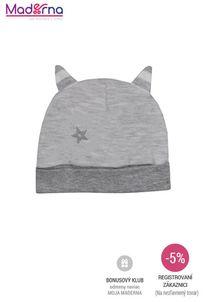 Bobas Fashion - Dojčenská bavlnená čiapočka Strieborná Mačka sivá