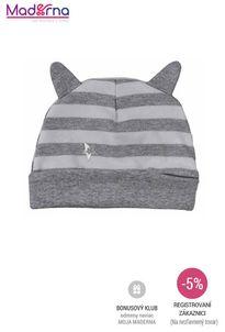 Bobas Fashion - Dojčenská bavlnená čiapočkaStrieborná Mačka s pruhmi sivá
