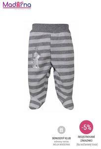 Bobas Fashion - Dojčenské bavlnené polodupačky Strieborná Mačka s pruhmi sivé