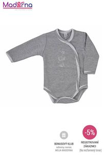 Bobas Fashion - Dojčenské body celorozopínacie Strieborná Mačka sivé