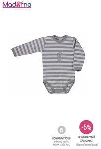 Bobas Fashion - Dojčenské body Strieborná Mačka s pruhmi sivé