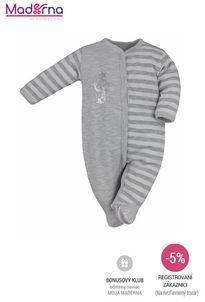 Bobas Fashion - Dojčenský bavlnený overal Strieborná Mačka svetlo sivý