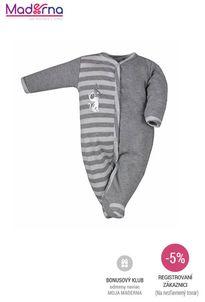 Bobas Fashion - Dojčenský bavlnený overal Strieborná Mačka tmavo sivý
