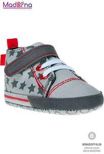 Bobo Baby Detské topánočky 6-12m sivé s hviezdičkami