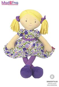 Bonikka látková bábika 40cm Peggy, fialové šaty