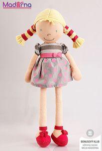 Bonikka látková bábika 42 cm Ann, bodkované šaty