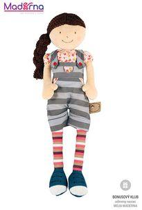 Bonikka látková bábika 42 cm Julia pásikavé nohavice na traky