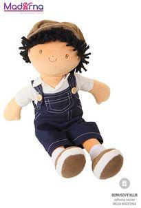 Bonikka látková bábika - chlapec 35 cm Joe modré džinsové nohavice na traky