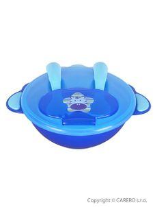 Detská miska s lyžičkou a vidličkou Akuku - Modrá