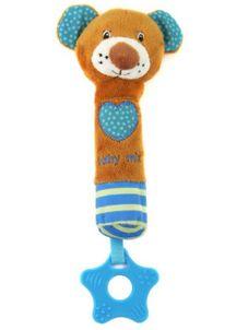 Detská pískacia plyšová hračka s hryzátkom Baby Mix medvedík modrá - Podľa obrázku
