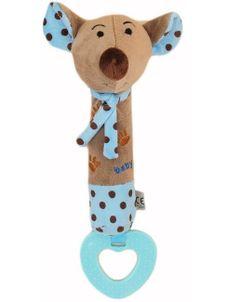 Detská pískacia plyšová hračka s hryzátkom Baby Mix myšky - Modrá