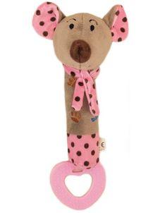 Detská pískacia plyšová hračka s hryzátkom Baby Mix myšky - Ružová