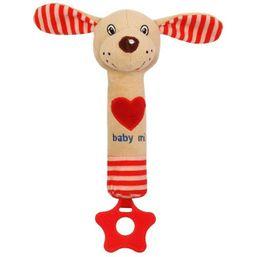 Detská pískacia plyšová hračka s hryzátkom Baby Mix psík červená - Červená