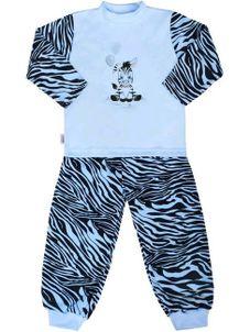 Detské bavlnené pyžamo New Baby Zebra s balónikom modré - Modrá