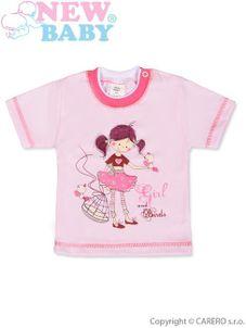 Detské tričko s krátkym rukávom New Baby Girl and Birds - Ružová