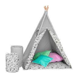 Detský luxusný stan s výbavou Teepee Akuku sivo-biely - Sivá