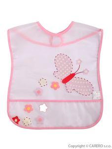Detský podbradník s kapsičkou Akuku s motýlikom - Ružová