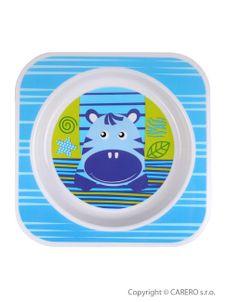 Detský tanier Akuku modrý s hrochom - Modrá