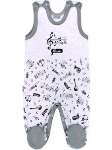 Dojčenské bavlnené dupačky New Baby Music - Biela