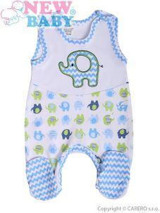 Dojčenské dupačky New Baby Sloník bielo-modré - Modrá