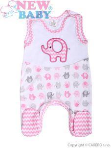 Dojčenské dupačky New Baby Sloník bielo-ružové - Ružová