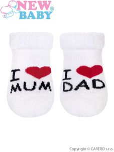 Dojčenské froté ponožky New Baby biele I Love Mum and Dad - Biela