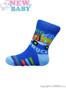 Dojčenské ponožky New Baby s ABS modré nákladné auto - Modrá