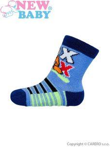 Dojčenské ponožky New Baby s ABS modré s liškou - Modrá