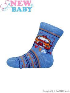 Dojčenské ponožky New Baby s ABS modré toy taxi - Modrá