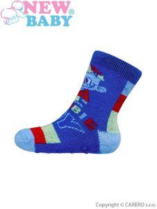 Dojčenské ponožky New Baby s ABS modré zombie boy - Modrá