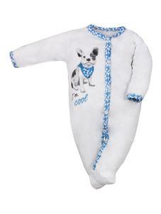Dojčenský bavlnený overal Koala Cool Dog bielo-modrý - Biela