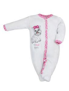 Dojčenský bavlnený overal Koala Cool Dog bielo-ružový - Biela